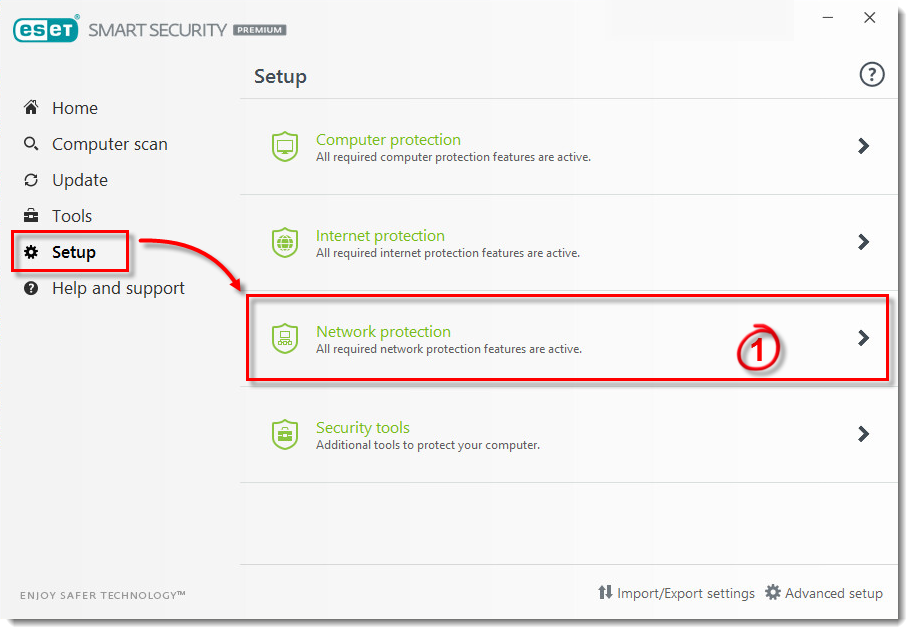 Change network connection firewall setting in ESET Windows
