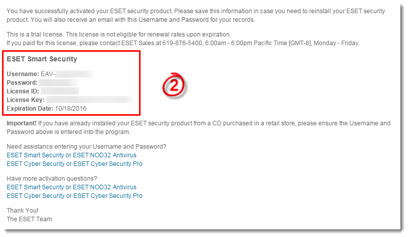 Activate or register my ESET product online