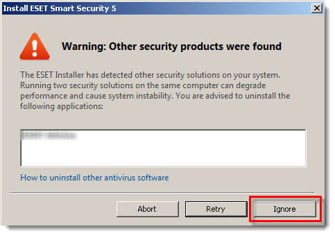 Warning Other security products were found