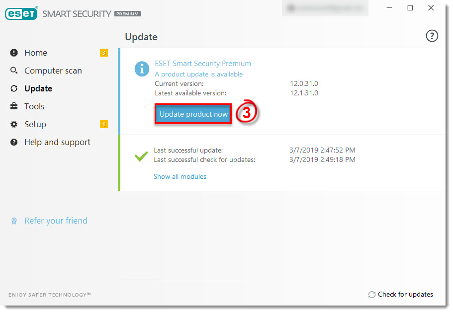 Update ESET Products—check for latest product modules