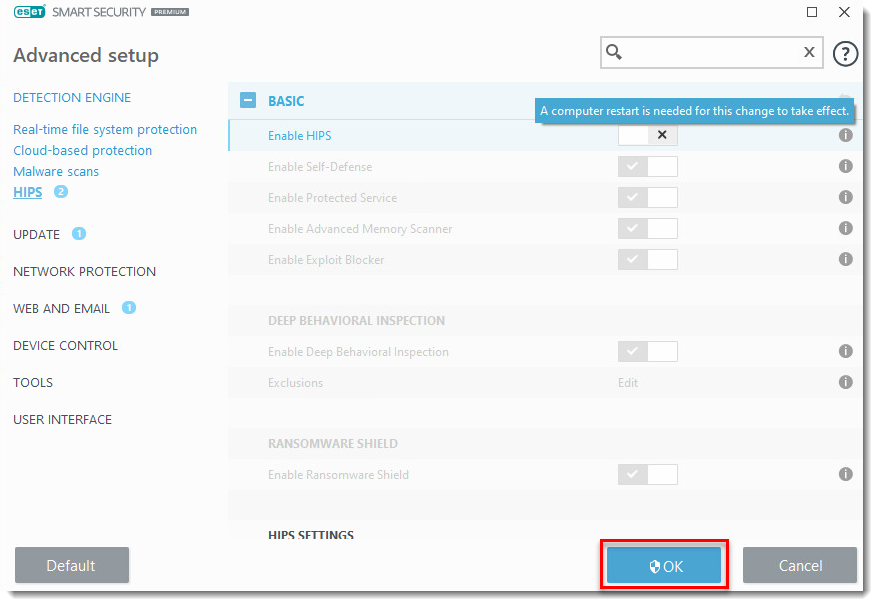 KB2811] Enable or disable HIPS in ESET products
